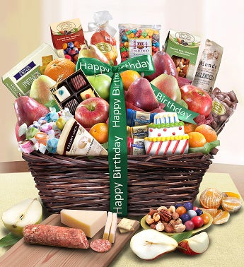 Happy Birthday Fruit  Sweets Basket Deluxe
