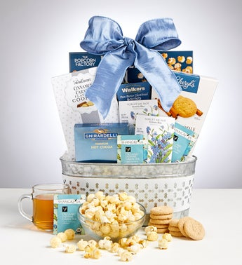 Peaceful Reflection Sympathy Basket with Flower Seeds