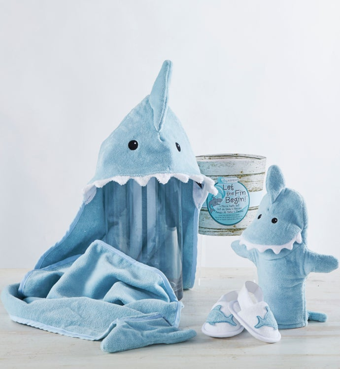Let the Fin Begin Blue Shark 4pc Bathtime Gift Set