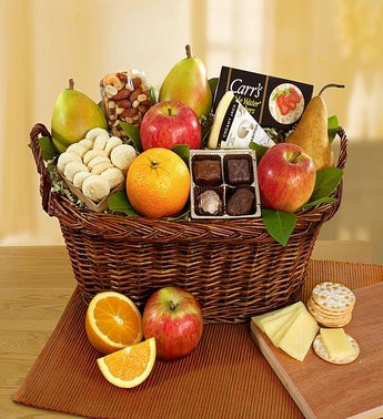 Vintage Gourmet Fruit  Cheese Gift Basket