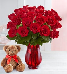 Red Roses with Bear: 12-24 Stems