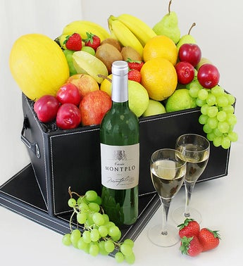 Fruit and Wine Fresh Fruit Gift Basket