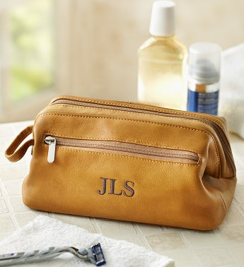 Personalized Mens Leather Toiletry Bag