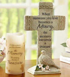 Treasured Memories Cross and Candle