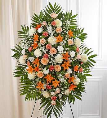 Peach Orange  White Sympathy Standing Spray