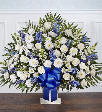 Heartfelt Tribute Blue  White Floor Basket Arrangement