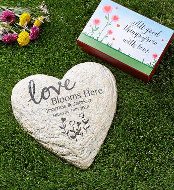 Personalized Love Blooms Garden Stone