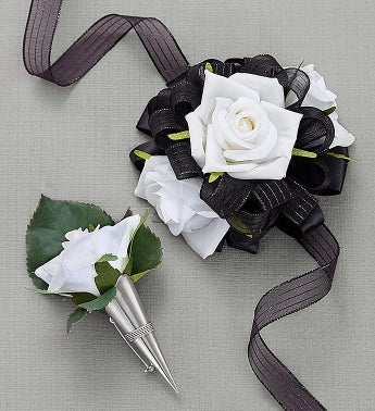 Keepsake White  Black Corsage And Boutonniere