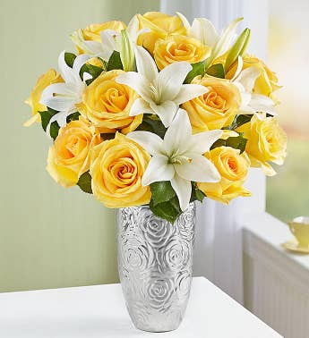 Fair Trade Certified Yellow Rose & White Lily