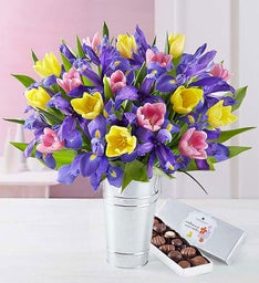 Deluxe Fanciful Spring Tulip & Iris Bouquet