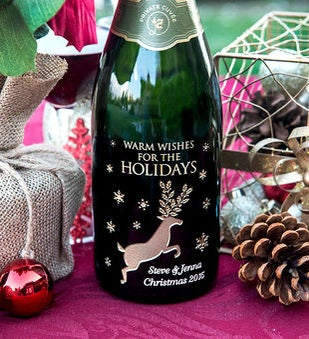Reindeer Snowflakes Personalized Wine Bottle