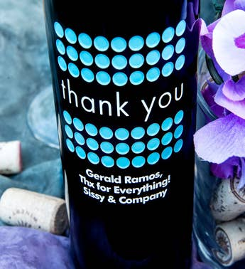 Thank you Dot Personalized Wine Bottle