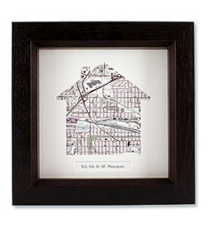 Personalized House Shaped Framed USGS Map