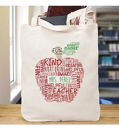 Teacher Personalized Word Art Tote Bag