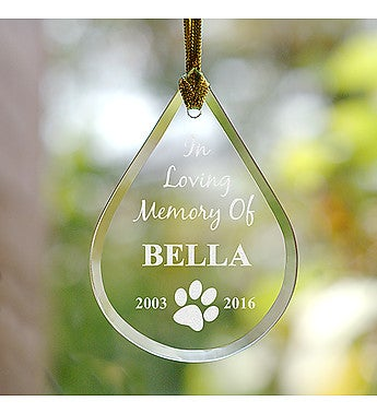 Engraved Pet Memorial Tear Drop Ornament