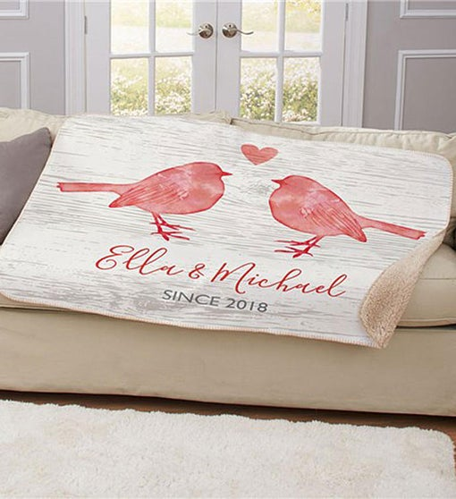 Personalized Love Birds Sherpa Blanket