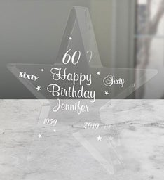 Engraved 60th Birthday Star Keepsake