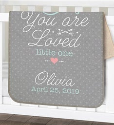 You Are Loved Little One Personalized Sherpa Blanket