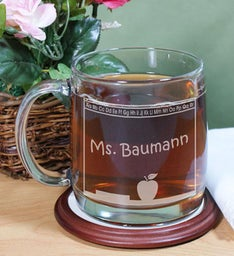 Personalized Teachers Name Engraved Glass Mug