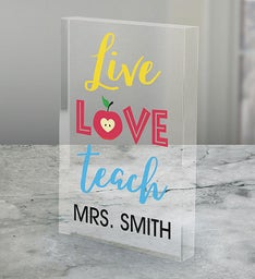 Personalized Live Love Teach Acrylic