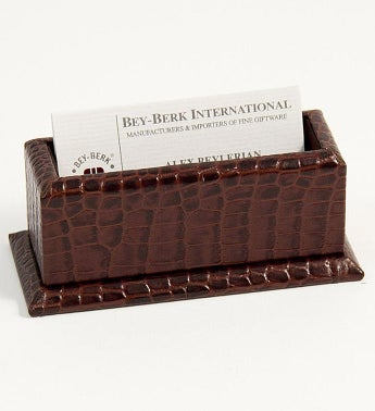 Personalized Croco Business Card Holder