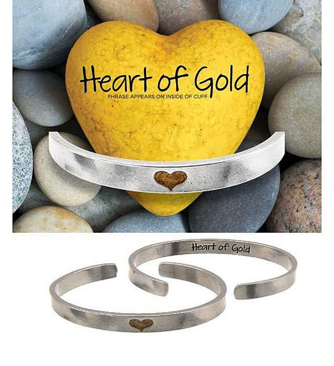 Heart of Gold Narrow Cuff Bracelet
