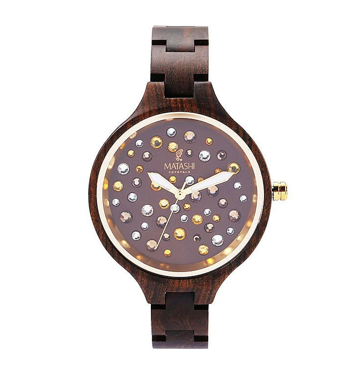 Womens Water-resistant Brown Salwood Watch