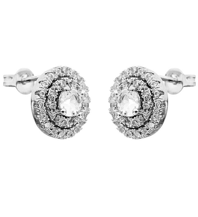 Three Circle Design White Gold Earrings