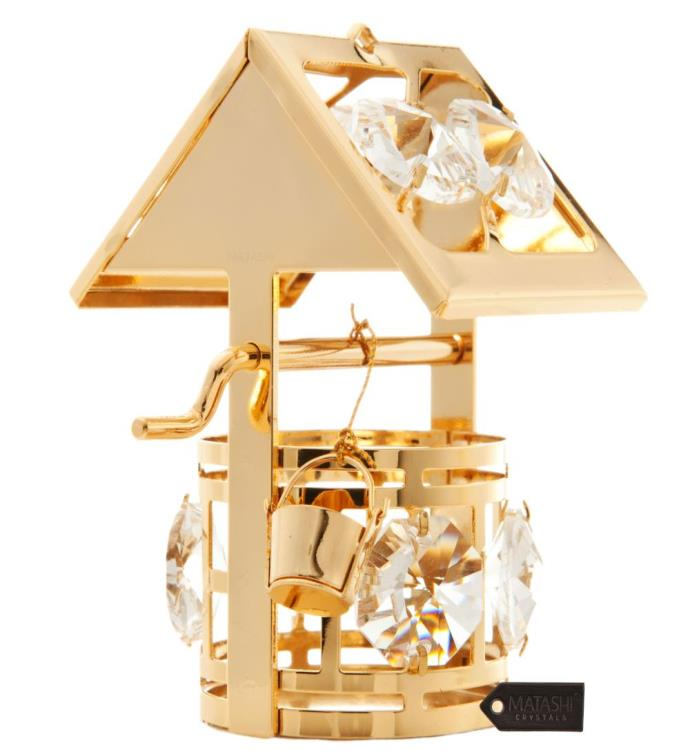 Gold Plated Crystal Studded Wishing Well Ornament