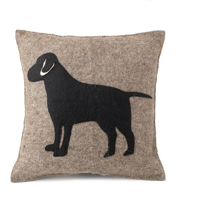 Handmade Cushion Cover in Hand Felted Wool - Black Lab on Gray - 20