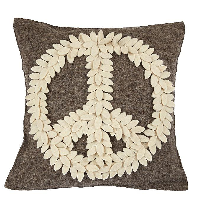 Cream Peace Sign on Gray Hand Felted Wool Pillow Cover 20