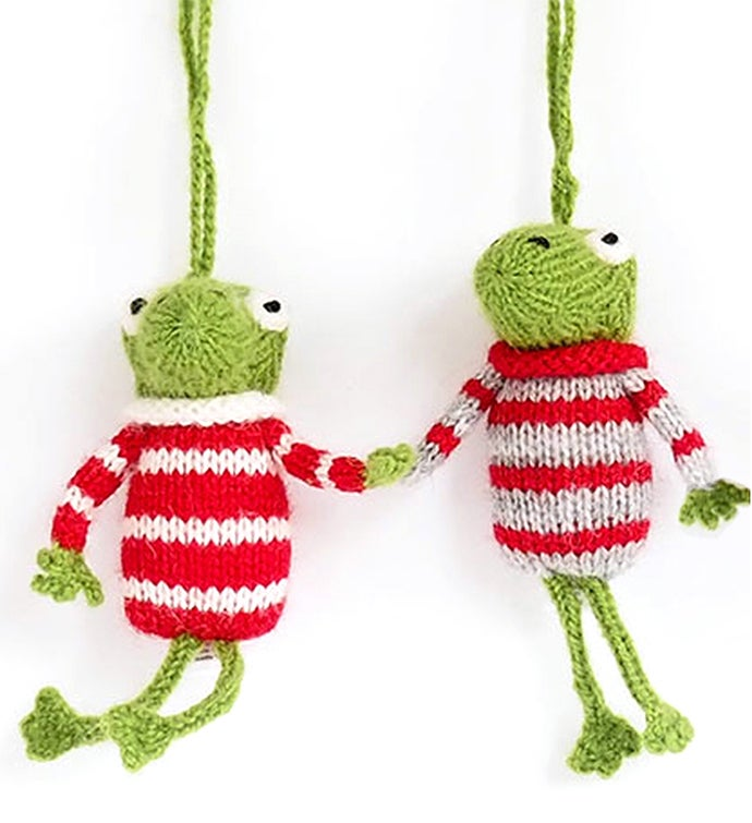 Frog Ornaments in Sweaters - Set of 2