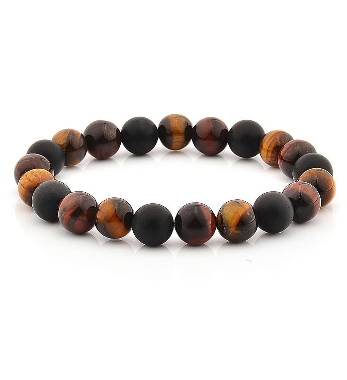 Stone Bracelet - Tiger39s Eye Matte Onyx  Gold Plated