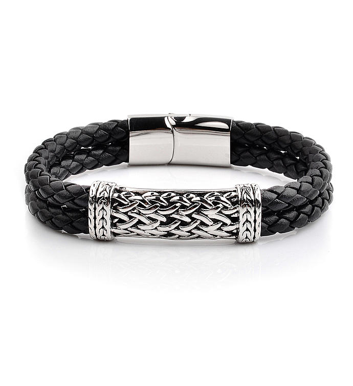 Antiqued Stainless Steel Id Braided Leather Bracelet