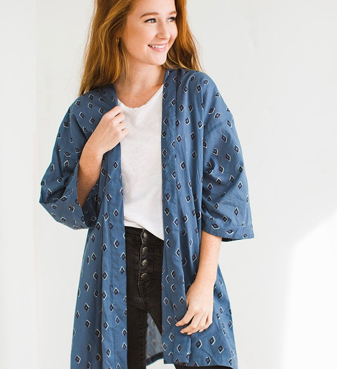 Tiz Ocean Block Printed Tunic Robes  More
