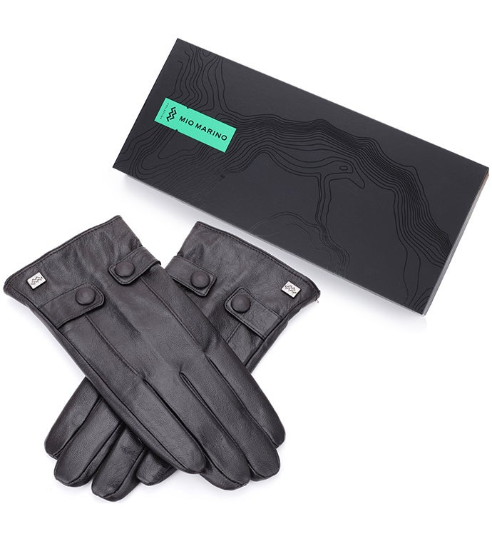Mio Marino Button Loop Nappa Leather Gloves - Dark Chocolate