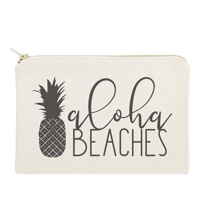 Beach Themed Makeup Bag  Travel Pouch