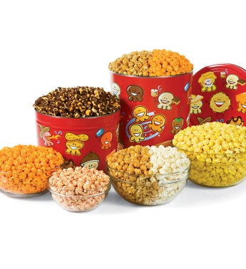 2 Gallon Popcorn Pals™ 3-Flavor and Pick-A-Flavor Popcorn Tins