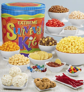 Extreme Survival Kit Snack Assortment & 3-Flavor Popcorn Tins