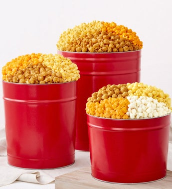 Simply Red Popcorn Tins - 2 Gallon 3- Flavor (Ships January 10, 2018)