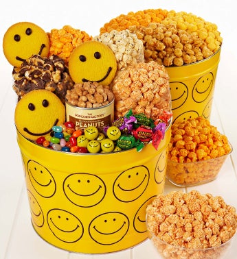 Smiley Face Snack Assortment and 3-Flavor Popcorn