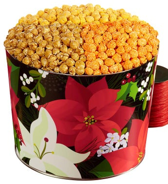 2 Gallon Winter Floral 3-Flavor Popcorn Tin