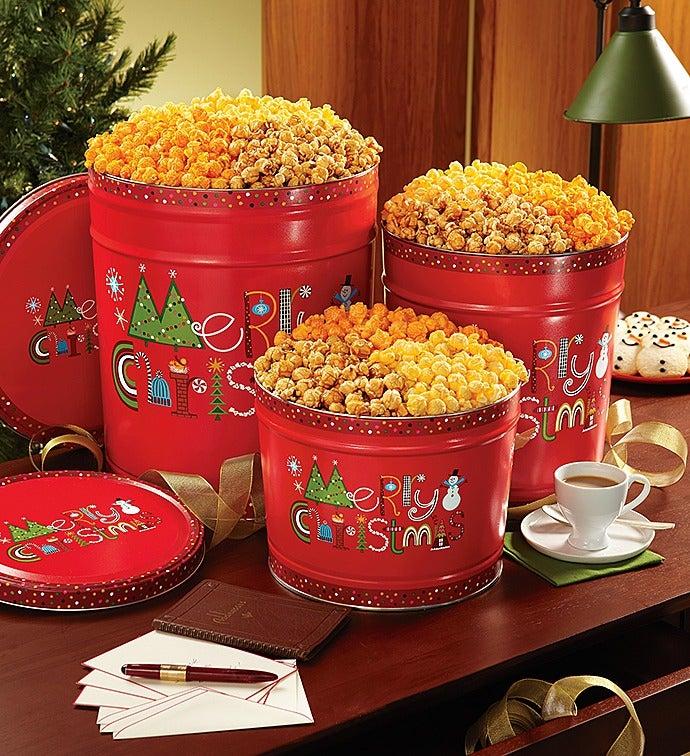merry christmas popcorn tins
