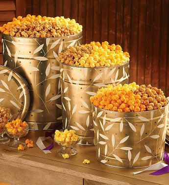Leaves on Gold Popcorn Tins