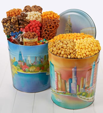 Chicago Skyline Snack Assortment and Popcorn Tins