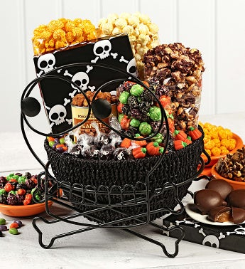 Skulls Basket in Pumpkin Stand