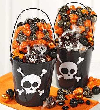 Set of Two Skulls Glitter Pails