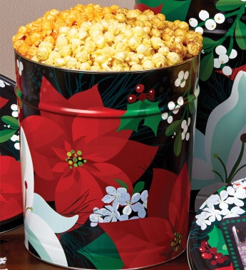 Winter Floral Popcorn Tin