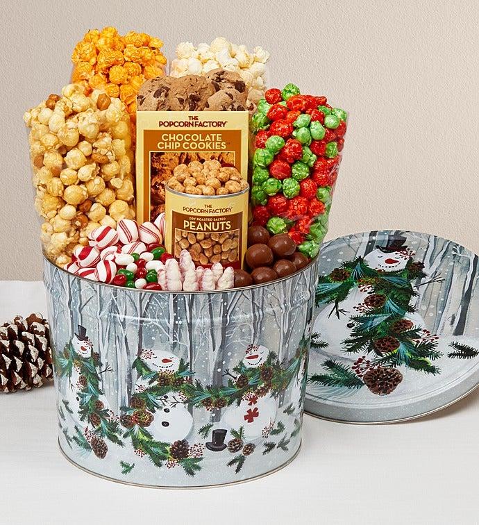 Garland Snowman Popcorn Tin - Snack Assortment