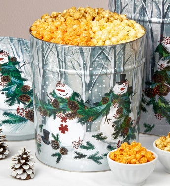 Garland Snowman 2 Gallon Popcorn Tin